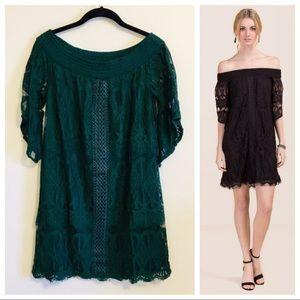 Francesca's Emerald Green Lace Off Shoulder Dress